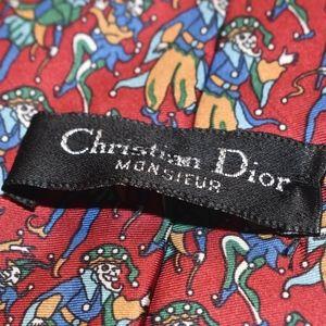 Dior Accessories - Christian Dior Red Silk Jester Clown FALL TIE!